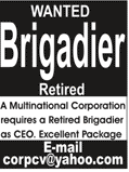 Brigadier Retired as Chief Executive officers CEO Jobs