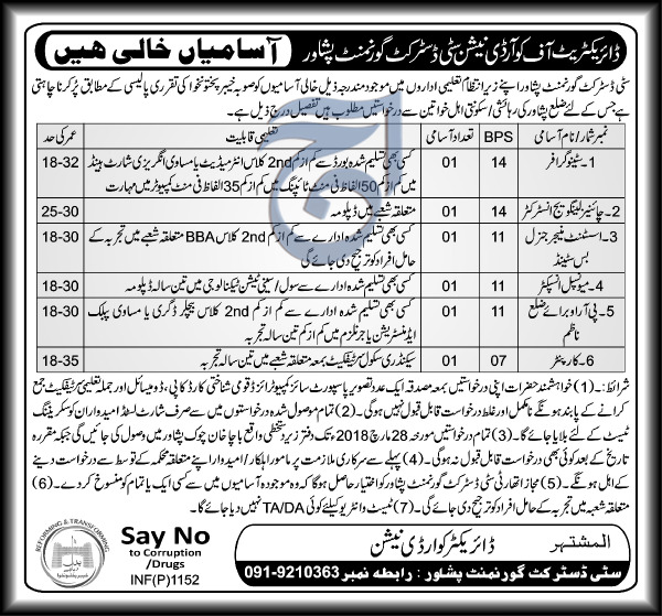 City District Government Clerical Jobs 2018