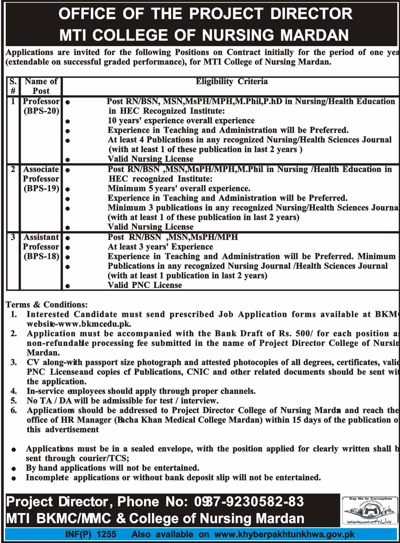 Medical Teaching Institute MTI College of Nursing Mardan Job