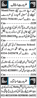 Male / Female Teachers, Peons  Job Opportunity