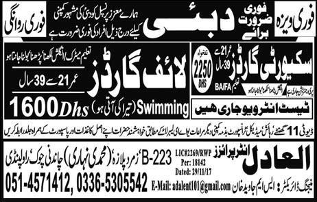 Life Guards and Security Guards Job Opportunity