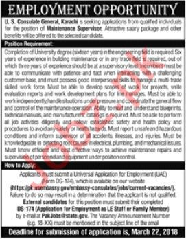 US Consulate Karachi Jobs 2018 USA Embassy Jobs