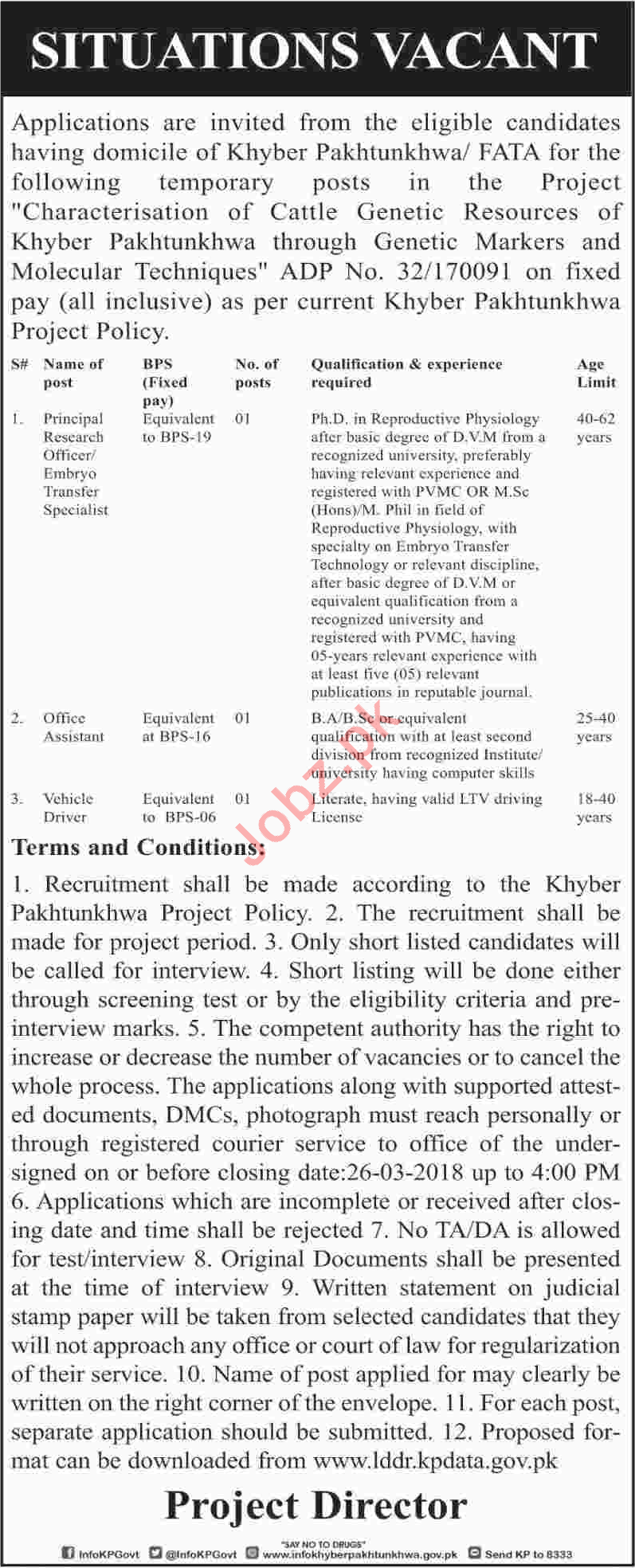Public Sector Organization KPK Jobs 2018 Research Officer