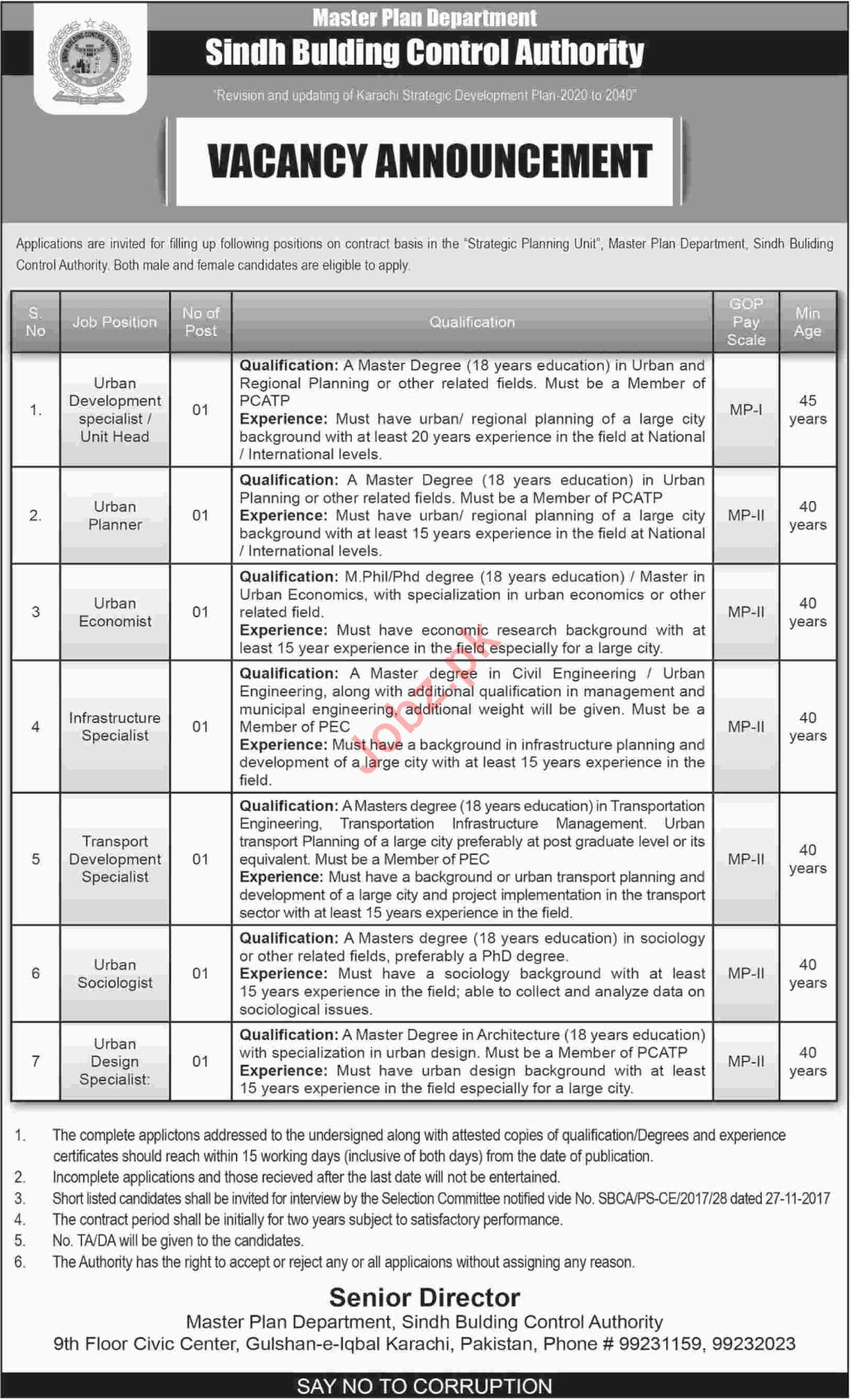 Sindh Building Control Authority SBCA Jobs 2018