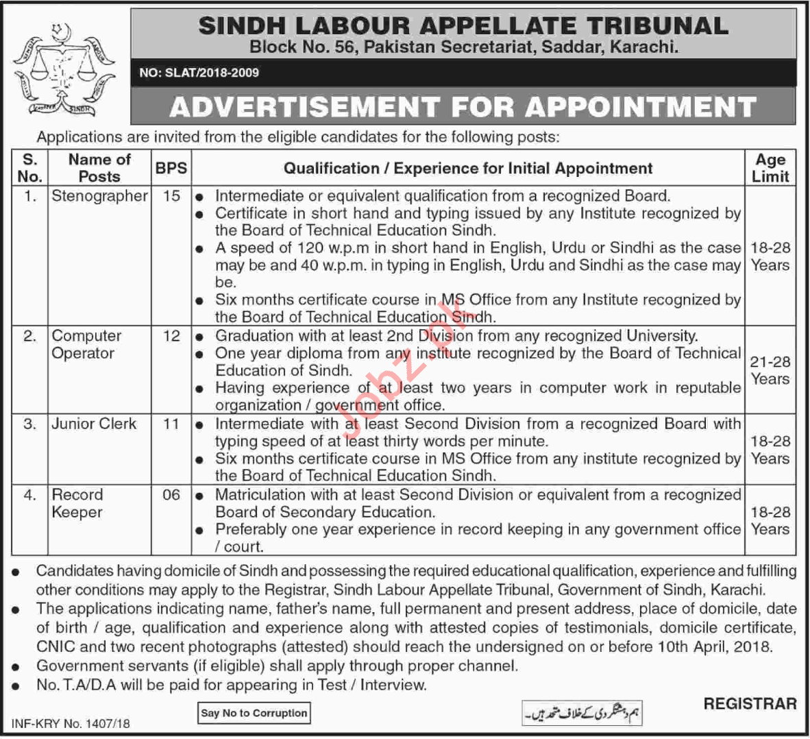 Sindh Labour Appellate Tribunal Karachi Jobs 2018