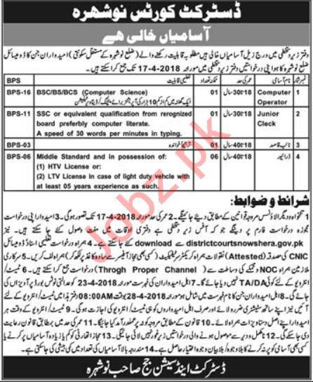 District & Session Court Nowshera Jobs 2018