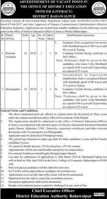 District Education Authority DEA Bahawalpur Jobs