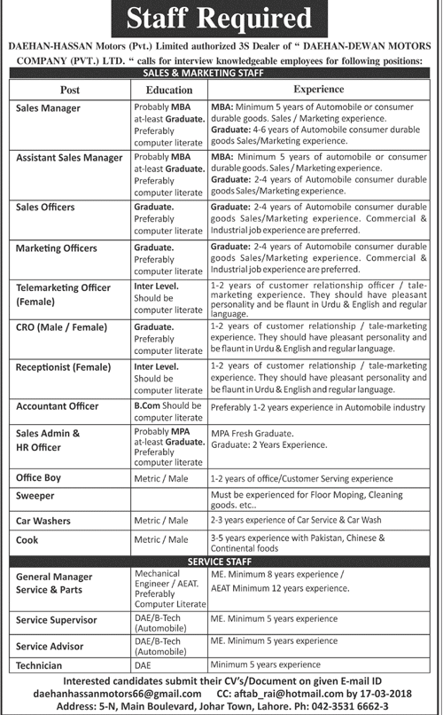 Daehan Hassan Motors Private Limited Jobs