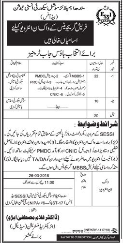 Sindh Employees Social Security Institute SESSI Medical Jobs