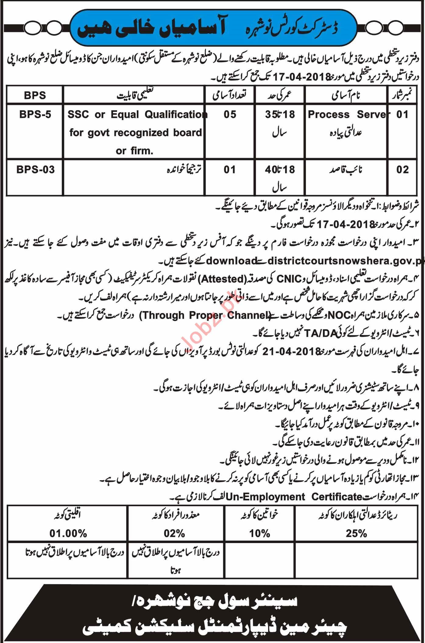 District Courts Nowshera Jobs 2018 for Naib Qasid & Process