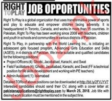 Right To Play Pakistan NGO Jobs 2018 In Lahore