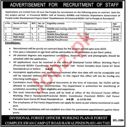 Forest Wildlife & Fisheries Department Jobs 2018 Drivers