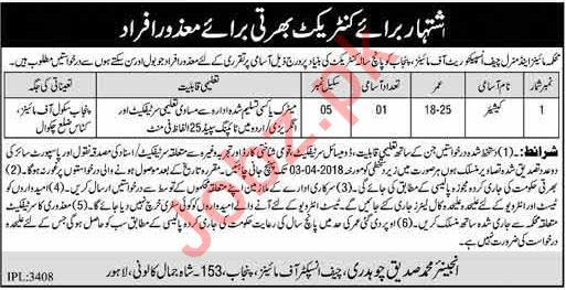 Punjab School of Mines Chakwal Jobs 2018 for Cashier