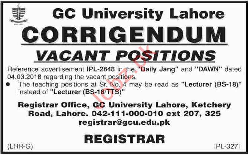 GC University Lahore Jobs 2018 for Lecturers