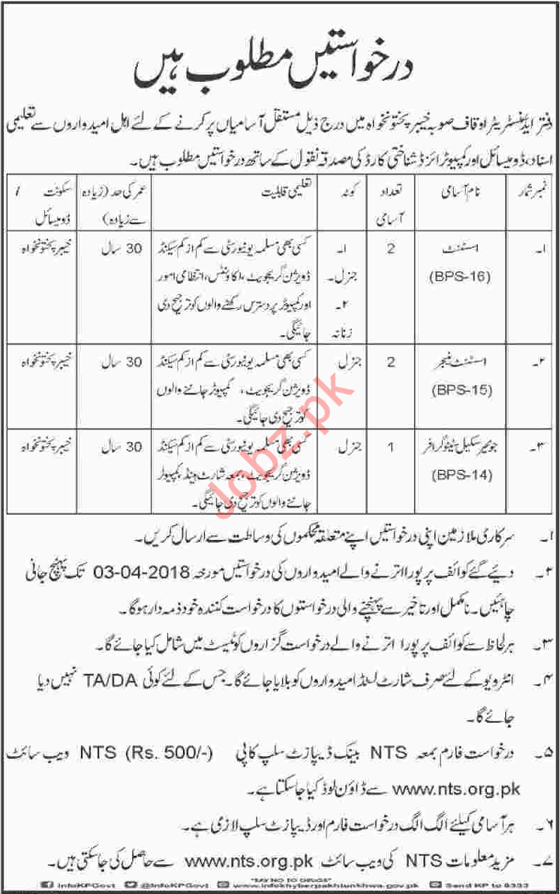 Auqaf Department KPK Jobs 2018 Managers & Stenographers