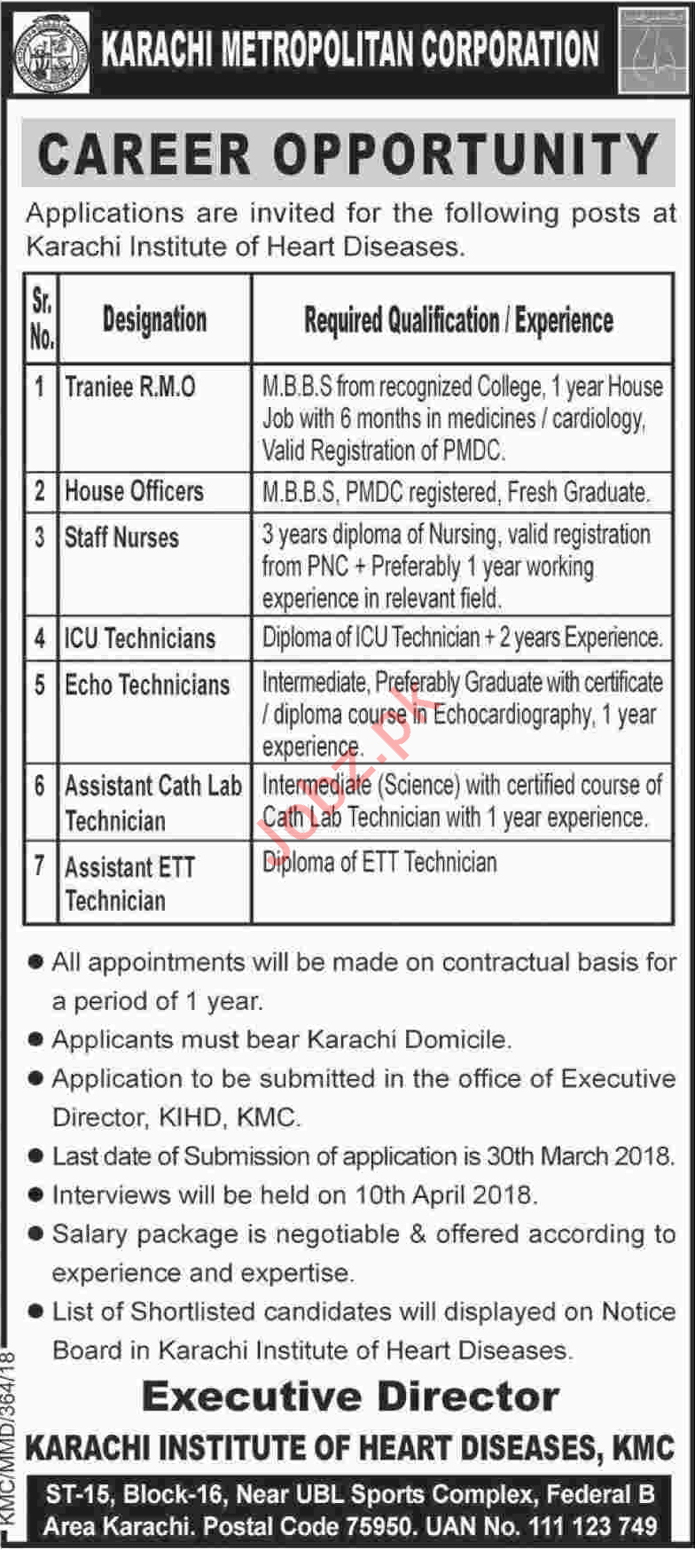 Karachi Institute of Heart Diseases KIHD Jobs 2018 Doctors