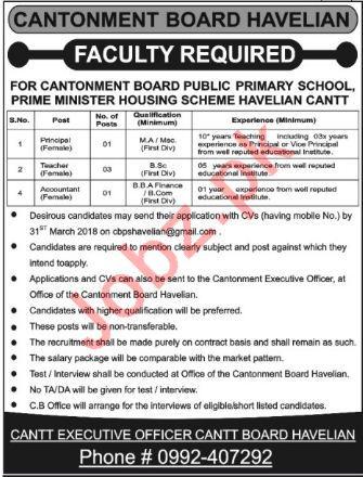 Cantonment Board Primary School Havelian Jobs 2018 Teachers