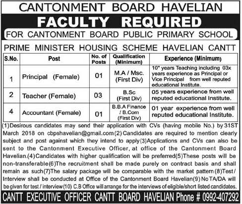 Cantonment Board Public Primary School Jobs