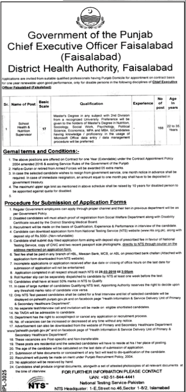 District Health Authority Faisalabad Jobs 2018