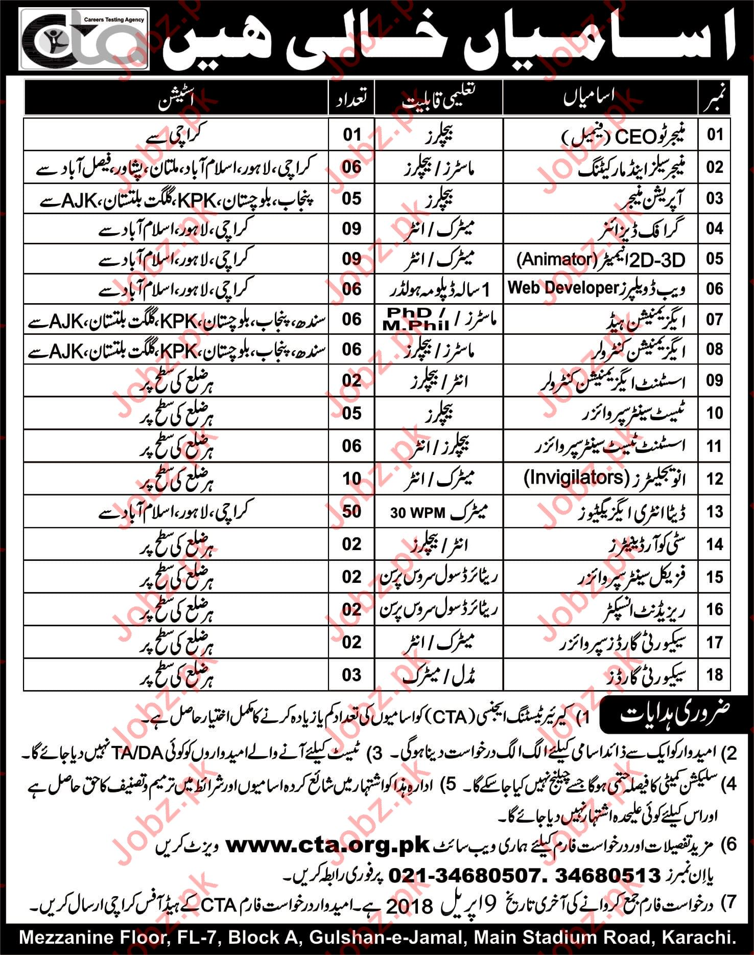 Career Testing Agency CTA Jobs 2018 Pakistan