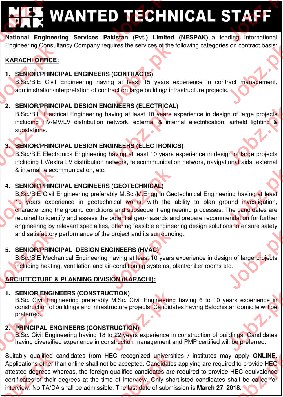 National Engineering Services Pakistan NESPAK Jobs 2018