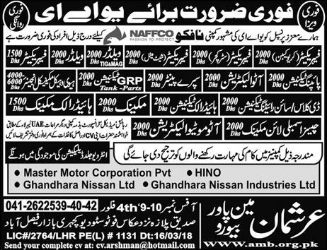 Fabricators, Welders, Pipeing Technicians Job Opportunity