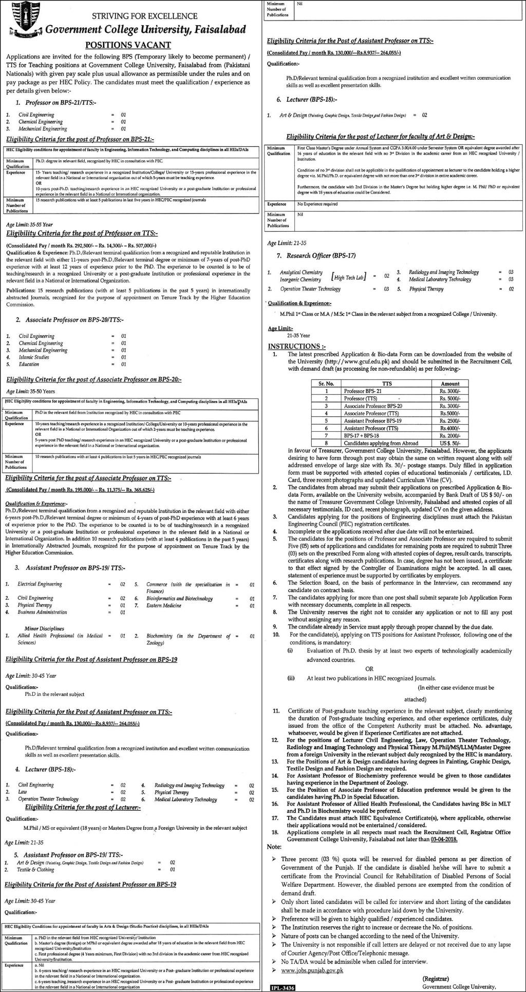 Government College GC University Faisalabad Jobs 2019 Job