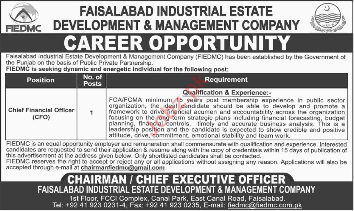 Faisalabad Industrial Estate Development FIEDMC Jobs