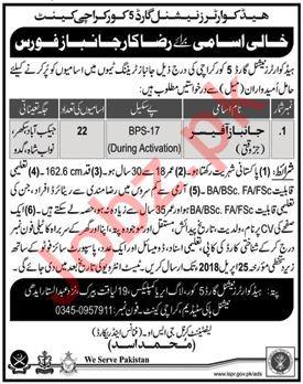 Headquarter National Guards 5 Core Karachi Jobs 2018