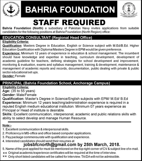 Bahria Foundation Education Consultant Jobs 2019 Job Advertisement