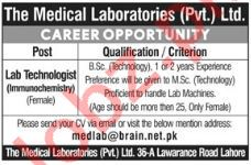 The Medical Laboratories Lahore Jobs 2018 Lab Technologist