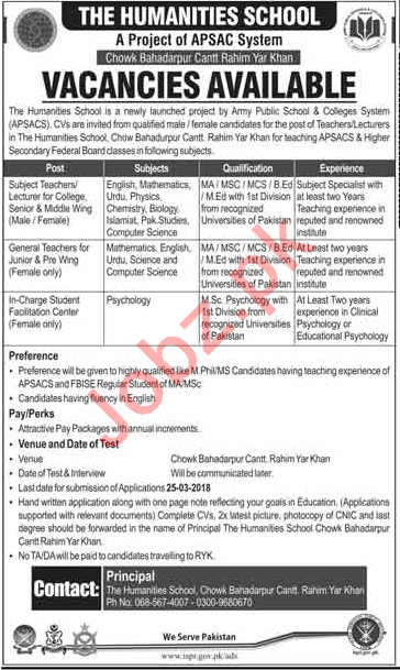The Humanities School APSAC Rahim Yar Khan Jobs 2018 2019 Job