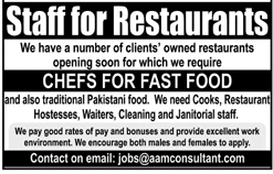 Chefs For Fast Food Job in Restaurant