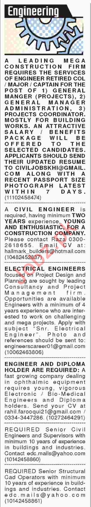 Civil Engineers, Electrical Engineers, CAD Operators Jobs
