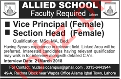 Allied School Lahore Jobs 2018 Principal & Section Head