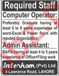 Interhom Lahore Jobs 2018 Computer Operator & Admin Asst