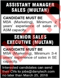 Assistant Manager Sales and Executive Required