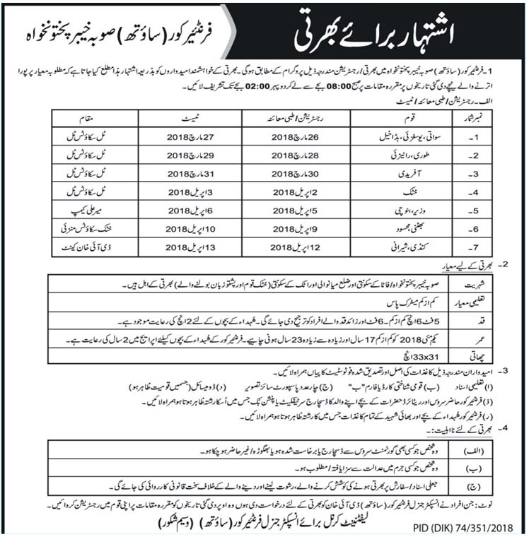 Frontier Corps South  Recruitment of Constables