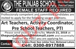 The Punjab School Lahore Jobs 2018 for Teachers