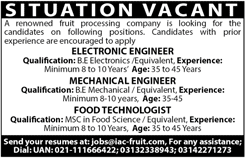 Electronic Engineers, Mechanical Engineers Job Opportunity