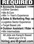 Accounts Assistants, Sales & Marketing Representative Wanted