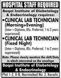 Clinical Lab Technicians Job Baqai Institute of Diabetology