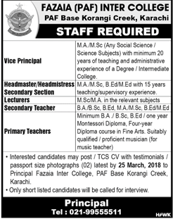 Fazaia Inter College Korangi Creek Jobs
