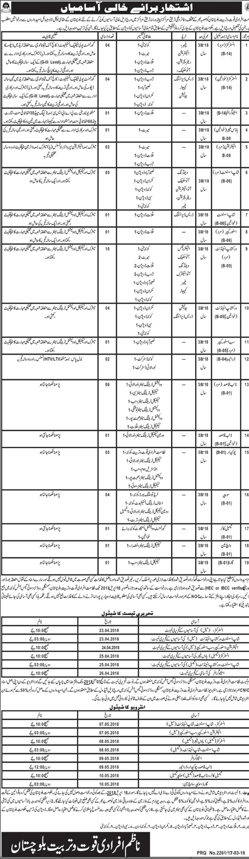 Male Instructors Job in Government of Balochistan