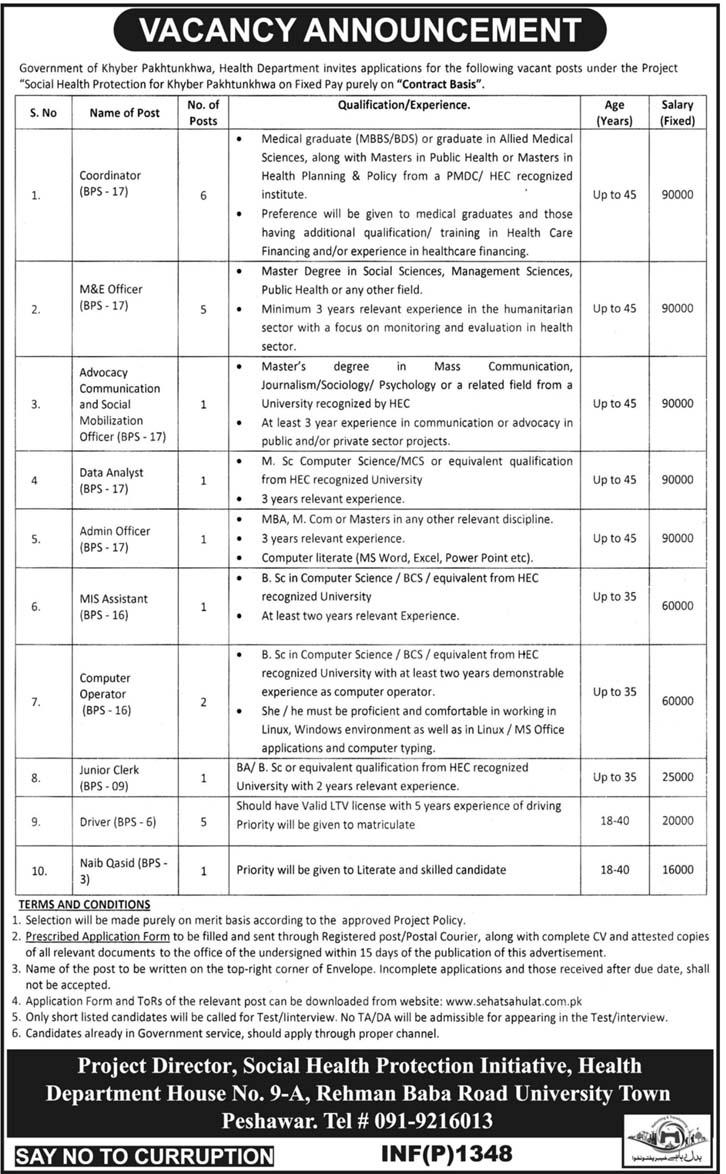 Health Department KPK Jobs 2018