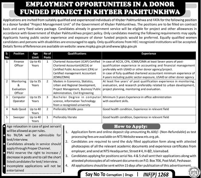 Finance Officers Job in Donor Funded Project in KPK
