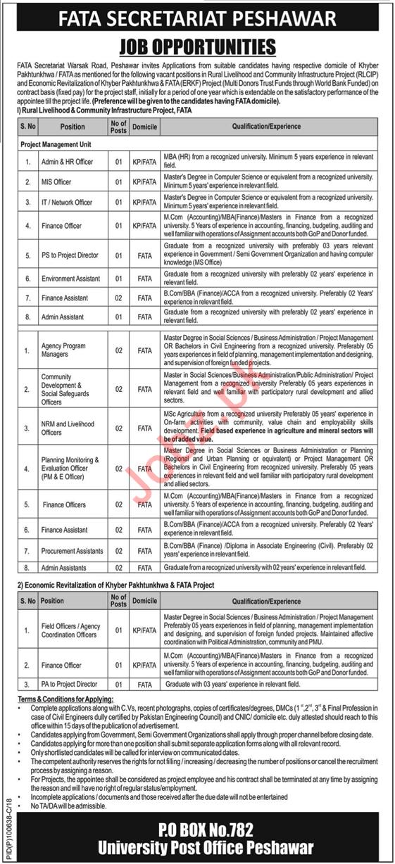 FATA Project Management Unit PMU Peshawar Jobs 2018