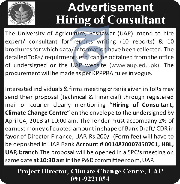 University of Peshawar UAP Consultants  Jobs