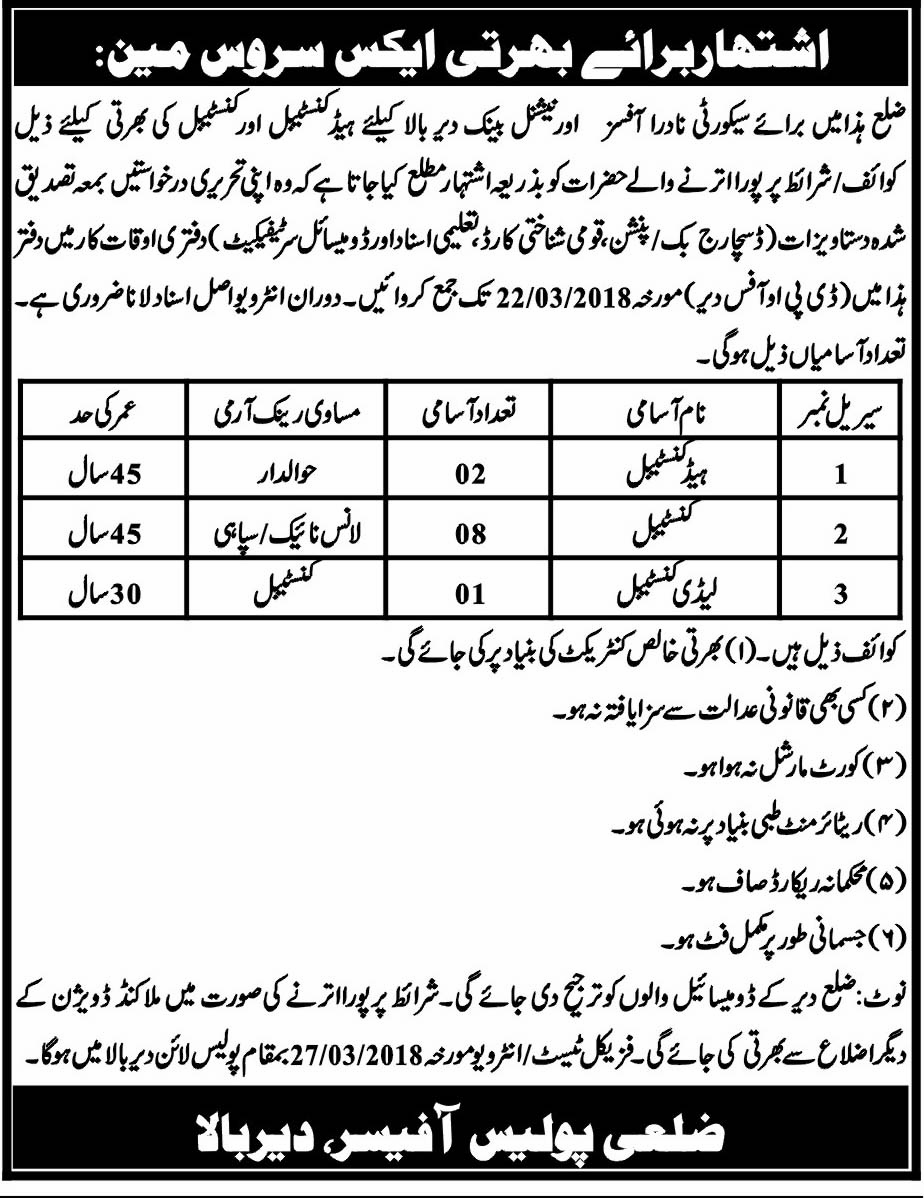 District Police District KPK Police Dir Bala  Jobs