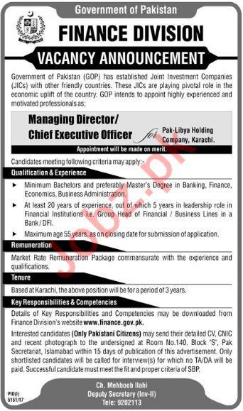 Pak Libya Holding Company Karachi Jobs 2018